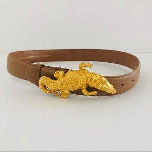 GOLD ALLIGATOR BUCKLE • brown leather belt